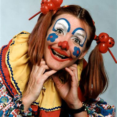 woman clown with pigtails